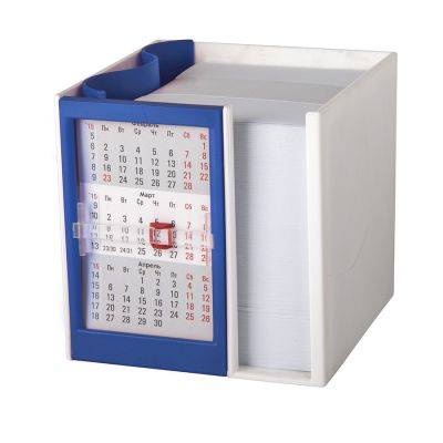 HG15091401 Walz. Календарь настольный  на 2 года с кубариком; белый с синим; 11х10х10 см; пластик; шелкография, тампо