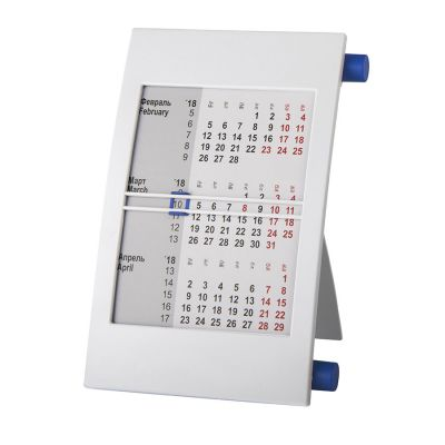 HG15091404 Walz. Календарь настольный на 2 года; белый с синим; 18х11 см; пластик; тампопечать, шелкография