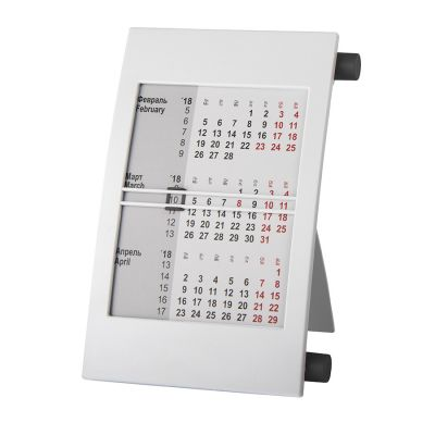 HG15091405 Walz. Календарь настольный на 2 года; белый с черным; 18х11 см; пластик; тампопечать, шелкография