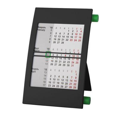 HG151182036 Walz. Календарь настольный на 2 года; черный с зеленым; 18х11 см; пластик; тампопечать, шелкография