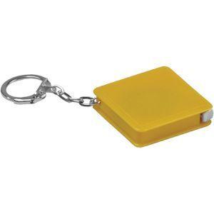 HG15091362 Брелок-рулетка (1 м); желтый; 4х4х1 см; пластик; тампопечать
