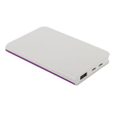 """HG184061216 thINKme. Универсальное зарядное устройство """"Franki"""" (4000mAh),белый с фиолетовым, 7,5х12,1х1,1см"""
