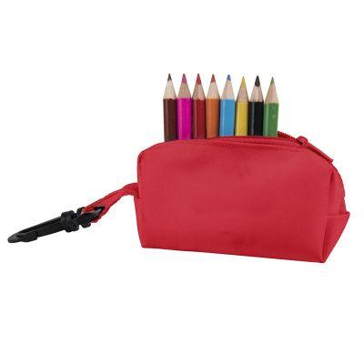 HG184061325 Набор цветных карандашей (8шт) с точилкой MIGAL в чехле, красный, 4,5х10х4 см, дерево, полиэстер