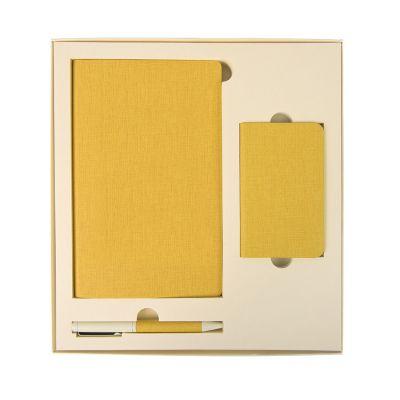 HG184061138 Набор подарочный PROVENCE; универсальное зарядное устройство(4000мАh), блокнот и ручка; желтый
