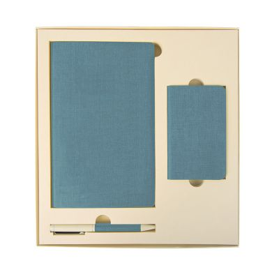HG184061139 Набор подарочный PROVENCE; универсальное зарядное устройство(4000мАh), блокнот и ручка; голубой