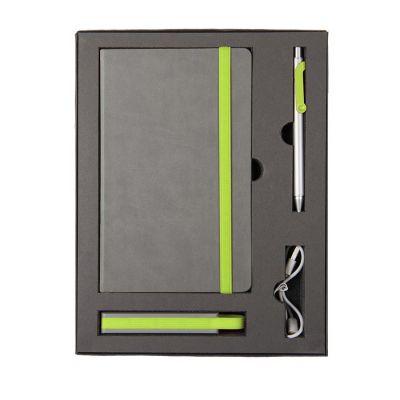 HG170151581 Набор  FANCY:универсальное зарядное устройство(2200мАh), блокнот и ручка в подарочной коробке,зелены