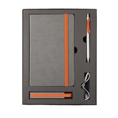 HG170151582 Набор  FANCY:универсальное зарядное устройство(2200мАh), блокнот и ручка в подарочной коробке,оранже
