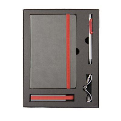 HG170151583 Набор  FANCY:универсальное зарядное устройство(2200мАh), блокнот и ручка в подарочной коробке,красны