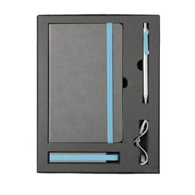 HG170151584 Набор  FANCY:универсальное зарядное устройство(2200мАh), блокнот и ручка в подарочной коробке,голубо