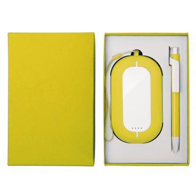 HG184061189 Набор SEASHELL-2:универсальное зарядное устройство(6000 mAh) и ручка в подарочной коробке,желтый