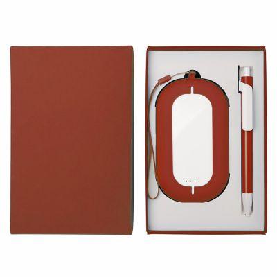 HG184061191 Набор SEASHELL-2:универсальное зарядное устройство(6000 mAh) и ручка в подарочной коробке,красный