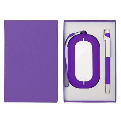HG184061192 Набор SEASHELL-2:универсальное зарядное устройство(6000 mAh) и ручка в подарочной коробке,фиолетовый