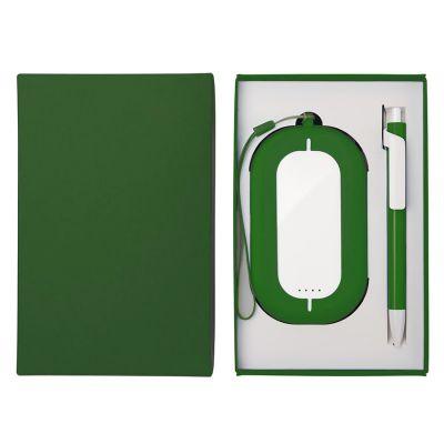 HG184061193 Набор SEASHELL-2:универсальное зарядное устройство(6000 mAh) и ручка в подарочной коробке,зеленый