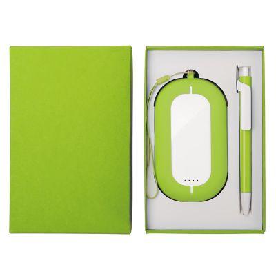HG184061194 Набор SEASHELL-2:универсальное зарядное устройство(6000 mAh) и ручка в подарочной коробке,светло-зел