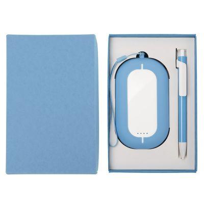 HG184061195 Набор SEASHELL-2:универсальное зарядное устройство(6000 mAh) и ручка в подарочной коробке,голубой