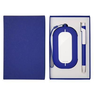 HG184061196 Набор SEASHELL-2:универсальное зарядное устройство(6000 mAh) и ручка в подарочной коробке,синий