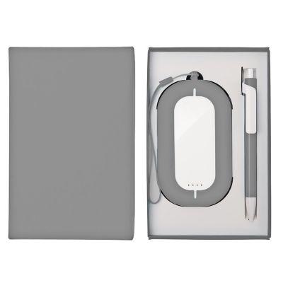 HG184061197 Набор SEASHELL-2:универсальное зарядное устройство(6000 mAh) и ручка в подарочной коробке,серый