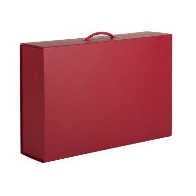 HG1509313 Коробка  складная подарочная  с ручкой, красный, 37x25 x10cm,  кашированный картон, тисн,  шелкогр.