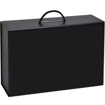 HG1509638 Коробка  складная подарочная  с ручкой,  черный, 37x25 x10cm,  кашированный картон, тисн