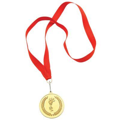 """HG15092272 Медаль наградная на ленте """"Золото""""; 48 см., D=5см.; текстиль, металл; лазерная гравировка, шелкограф"""