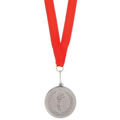 """HG15092273 Медаль наградная на ленте """"Серебро""""; 48 см., D=5см.; текстиль, металл; лазерная гравировка, шелкогра"""