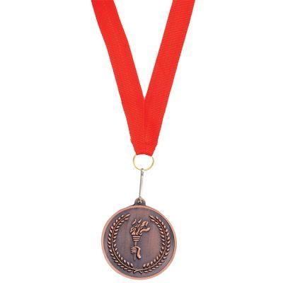 """HG15092274 Медаль наградная на ленте """"Бронза""""; 48 см., D=5см.; текстиль, металл; лазерная гравировка, шелкограф"""