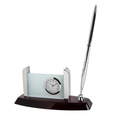 HG1509192 Часы с подставкой для визиток и авторучкой; 16х6,5х9см; дерево, металл; лазерная г