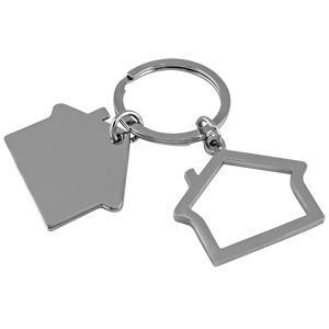 "HG15091305 Брелок ""Домики""; 3х2,5х0,2 см; металл; лазерная гравировка"