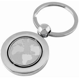 "HG15091306 Брелок ""Земной шар""; серебристый; 7х3,4х0,4 см; металл; лазерная гравировка"