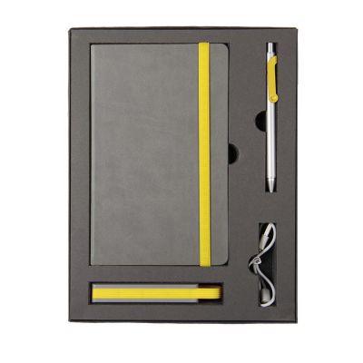 HG170151580 Набор  FANCY:универсальное зарядное устройство(2200мAh), блокнот и ручка в подарочной коробке,желтый