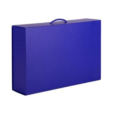 HG15091123 Коробка  складная подарочная  с ручкой,  синий, 37x25 x10cm,  кашированный картон, тисн,  шелкогр.