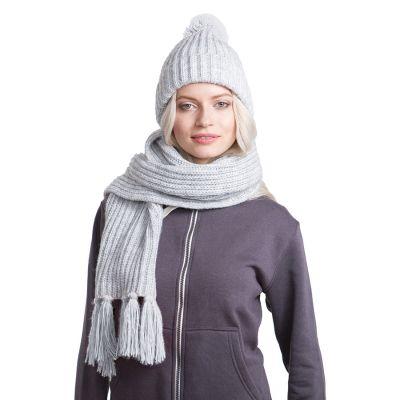 HG170151718 GoSnow, вязаный комплект шарф и шапка, меланж c фурнитурой меланж