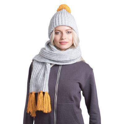 HG170151719 GoSnow, вязаный комплект шарф и шапка, меланж c фурнитурой золотой