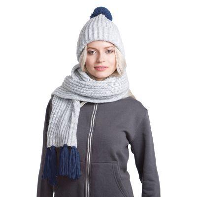 HG170151720 GoSnow, вязаный комплект шарф и шапка, меланж c фурнитурой темно синий