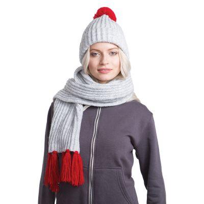 HG170151721 GoSnow, вязаный комплект шарф и шапка, меланж c фурнитурой красный
