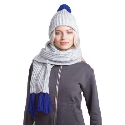 HG170151723 GoSnow, вязаный комплект шарф и шапка, меланж c фурнитурой синий