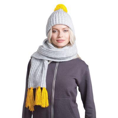 HG170151724 GoSnow, вязаный комплект шарф и шапка, меланж c фурнитурой желтый