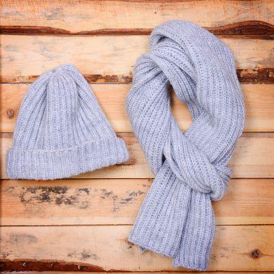 HG170151725 GoSnow, вязаный комплект шарф и шапка, меланж без фурнитуры