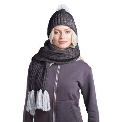 HG170151726 GoSnow, вязаный комплект шарф и шапка, антрацит c фурнитурой меланж