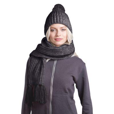 HG170151727 GoSnow, вязаный комплект шарф и шапка, антрацит c фурнитурой антрацит