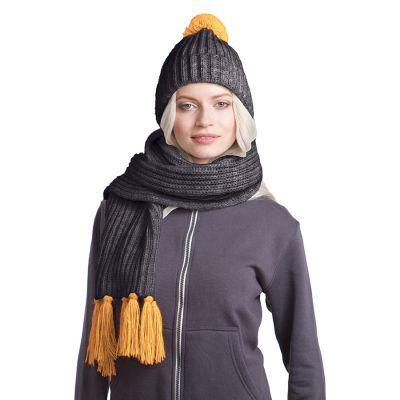 HG170151728 GoSnow, вязаный комплект шарф и шапка, антрацит c фурнитурой золотой