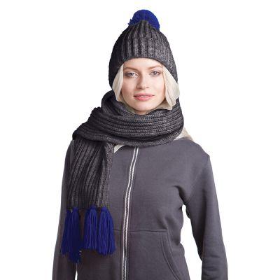 HG170151729 GoSnow, вязаный комплект шарф и шапка, антрацит c фурнитурой темно синий