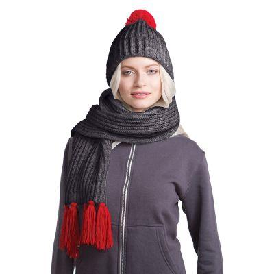 HG170151730 GoSnow, вязаный комплект шарф и шапка, антрацит c фурнитурой красный