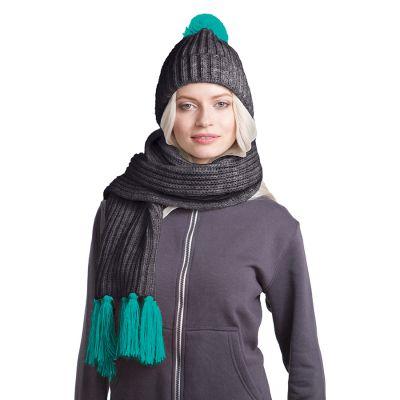 HG170151731 GoSnow, вязаный комплект шарф и шапка, антрацит c фурнитурой бирюзовый