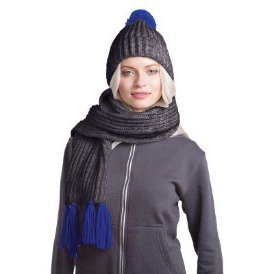 HG170151732 GoSnow, вязаный комплект шарф и шапка, антрацит c фурнитурой синий