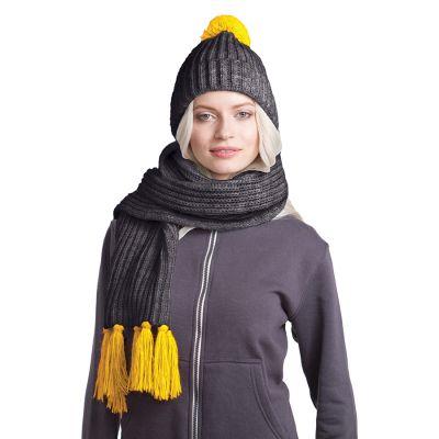 HG170151733 GoSnow, вязаный комплект шарф и шапка, антрацит c фурнитурой желтый