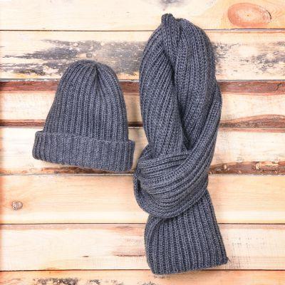 HG170151734 GoSnow, вязаный комплект шарф и шапка, антрацит без фурнитуры