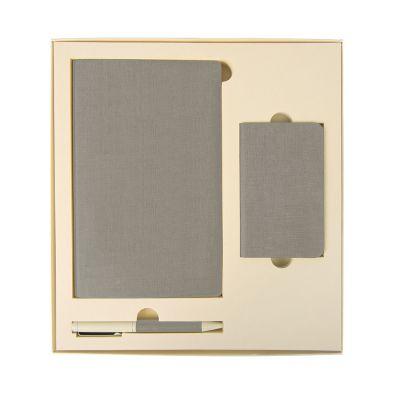 HG184061143 Набор подарочный PROVENCE; универсальное зарядное устройство(4000мАh), блокнот и ручка; светло-серый