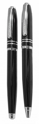 PC0828BP/RP Набор: ручка шариковая + роллер Pierre Cardin PEN and PEN, корпус - аллюминий, отделка - черное