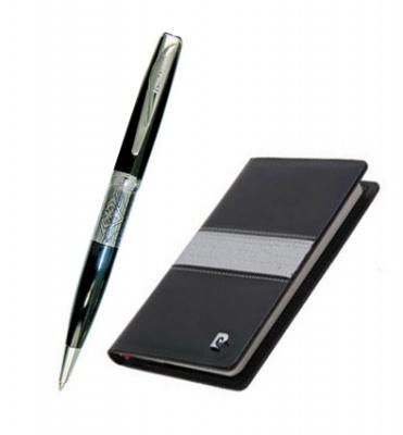 PC700 Набор: записная книжка + шариковая ручка, ручка шариковая, латунь, лак, хром. Блокнот бумажный